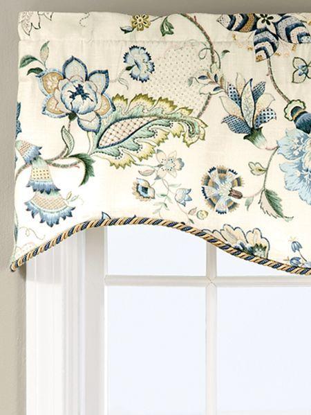 Jacobean Floral Rod Pocket Scalloped Valance Kitchen Window Treatments Valance Window Treatments Kitchen Valances