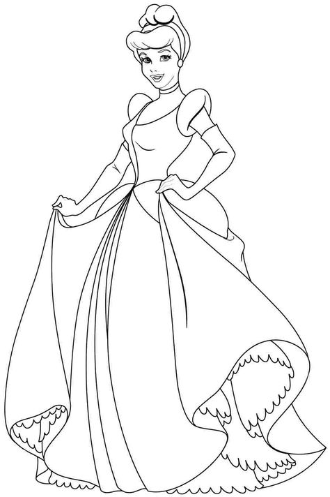 Disney Princess Cindirella Coloring Page 01 Coloring Pages