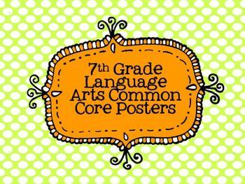 7th Grade Language Arts Common Core Posters