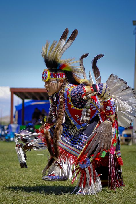Ruben Little Head, Jr., (Northern Cheyenne) puts on his best performance at Eastern Shoshone Indian Days powwow, which ran June in Fort Washakie, Wyoming. (Photo by Terance Oldman)