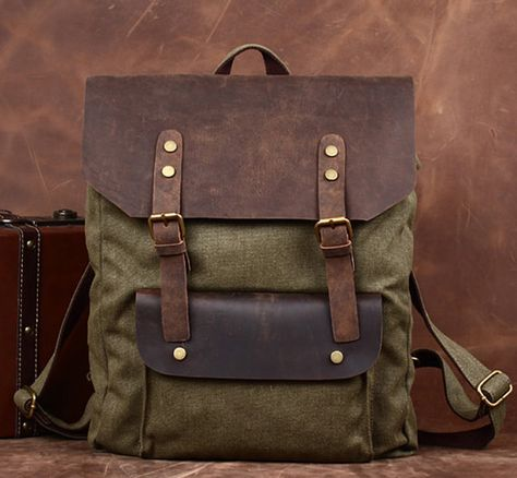 Handmade  Army green Leather Canvas Backpack Canvas Backpacks Student Canvas Backpack-Leather Satchel/schoolbags/Travel bag/Leather bags