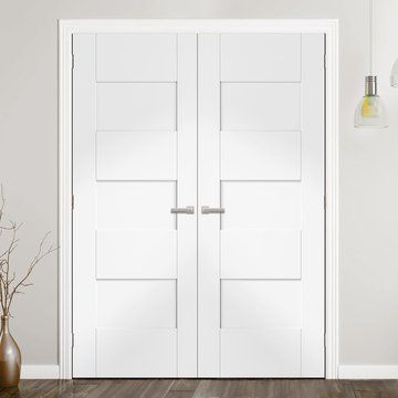 Perugia White Fire Door Pair Is 1 2 Hour Fire Rated And Prefinished Lifestyle Image Whitedoors Paneldoors Fire Doors White Doors Doors