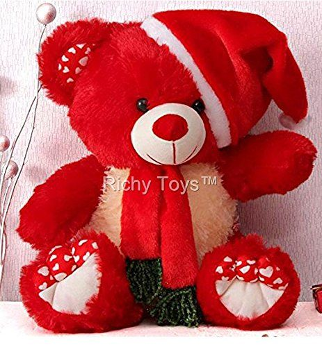 Babique Santa Teddy Bear Plush Stuffed Soft Toys Animals Birthday Gift For Kids 38cm Red Soft Toy Animals Teddy Bear Wallpaper Soft Teddy Bear