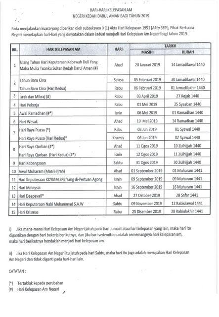 Muat Turun Download Hari Kelepasan Am Bagi Negeri Kedah Tahun 2019 Layanlah Berita Terkini Tips Berguna Maklumat Kedah