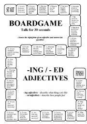 English Worksheet Boardgame Ing Ed Adjectives Editable Key
