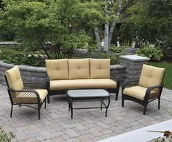Backyard Creations Maple Grove 4 Piece Seating Patio Set In Yellow 548 Patio Furniture Collection Backyard Creations Outdoor Furniture Sets