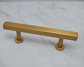 3 Modern Gold Cabinet Pulls Gold Drawer Pulls Brass Drawer