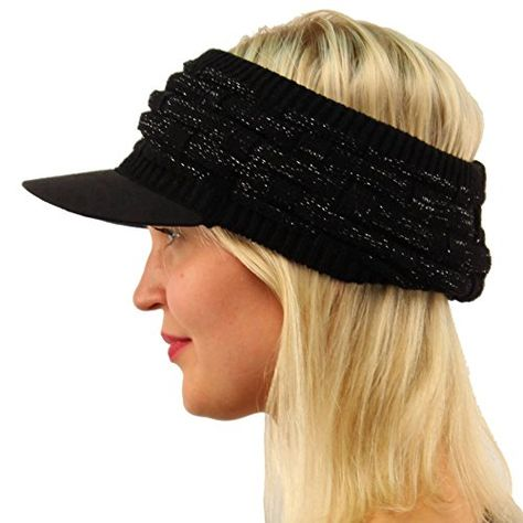Winter Open Top 2ply Thick Knit Headband Faux Suede Visor Beanie Hat Cap  Black   More info could be found at the image url. (This is an affiliate  link) 5621636551c