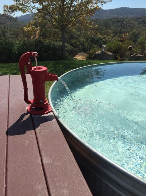 Great Idea For Your Stock Tank Pool Use An Old Fashioned Hand