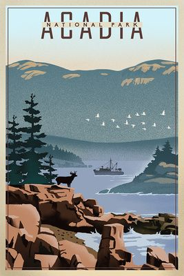 Acadia National Park Maine Lithograph Lantern Press Artwork National Park Posters National Parks Travel Gallery Wall