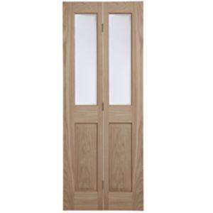 4 Panel Oak Veneer Glazed Internal Bi Fold Door H 1981mm W 762mm In 2020 Internal Doors Internal Wooden Doors Glass Panel Door
