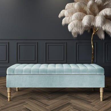 Furniture123 Storage Ottoman Bench Storage Ottoman Duck Egg Blue Velvet