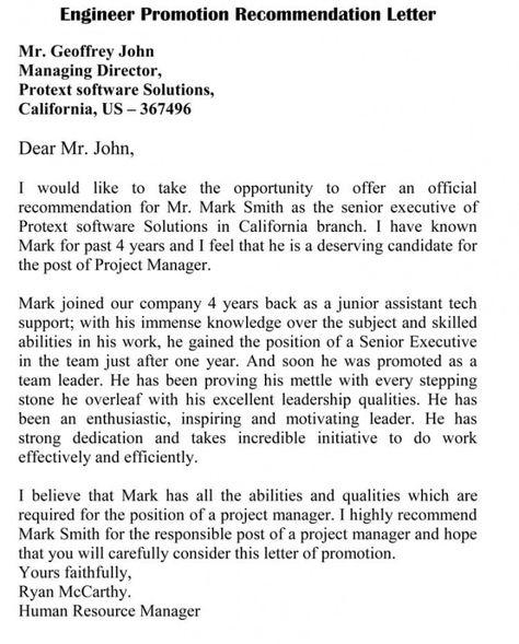 Promotion Recommendation Letter For Software Engineer Letter Of Recommendation Lettering Confirmation Letter