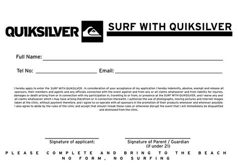 Quiksilver Birthday Party Indemnity Form Surf Emporium - ups signature release form
