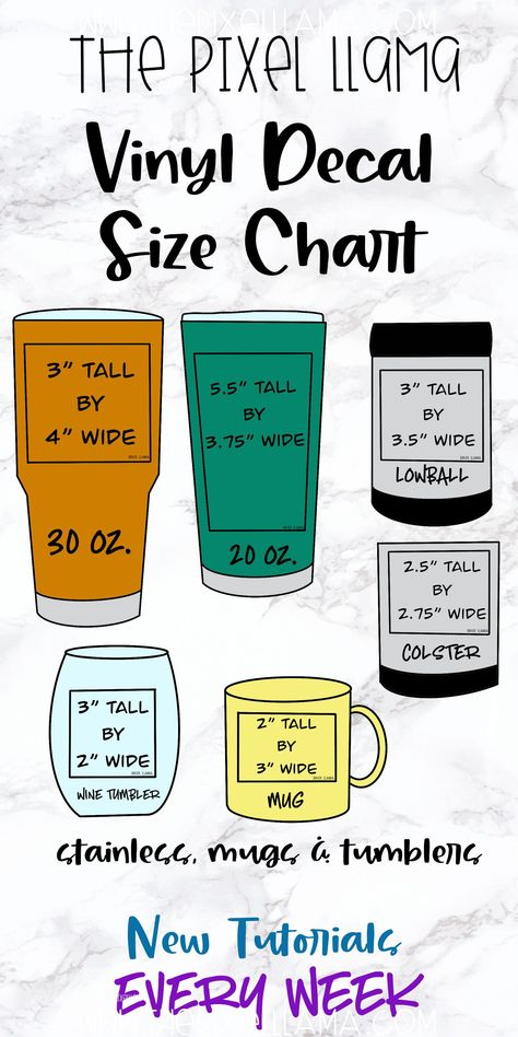 vinyl decal size chart cups, drinkware sizing guide I always struggle trying to remember which size works best for different sized cups & mugs. I designed this chart on my iPad for easy memory and now I am sharing it with you. I hope you enjoy it! Inkscape Tutorials, Cricut Tutorials, Diy Tumblers, Custom Tumblers, Glitter Tumblers, Tips And Tricks, Cricut Ideas, Cricut Project Ideas, Cricut Vinyl Projects