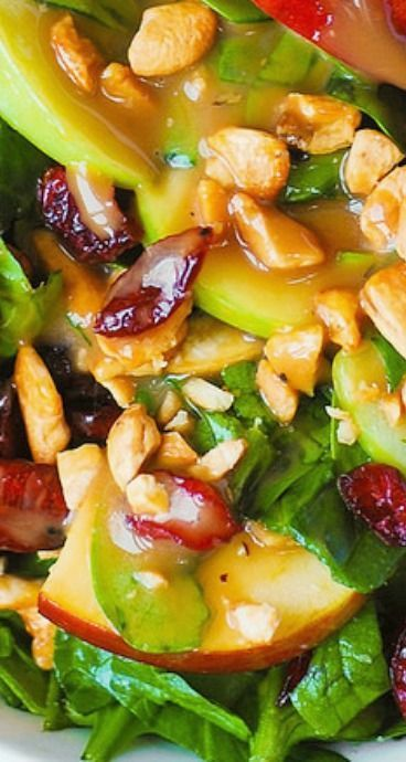 Apple Cranberry Spinach Salad with Cashews and Balsamic Vinaigrette Apfel-Cranberry-Spinat-Salat mit Cashewnüssen und Balsamico-Vinaigrette Vegetarian Recipes, Cooking Recipes, Healthy Recipes, Ramen Recipes, Cooking Pork, Fruit Recipes, Kitchen Recipes, Cranberry Spinach Salad, Spinach Salads