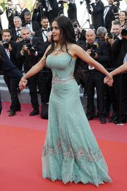 Salma Hayek wore a Gucci embroidered gown for the 5050 by 2020 call for change march ahead of the