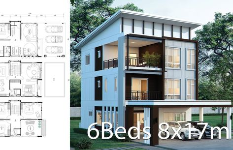 House Design Plan 8x17m With 6 Bedrooms With Images Home Design Plans 3 Storey House Design House Design
