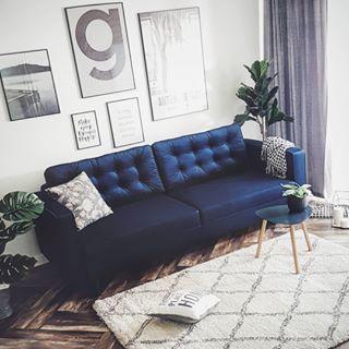 Granatowa Sofa Z Weluru Furniture Sofa Home Decor
