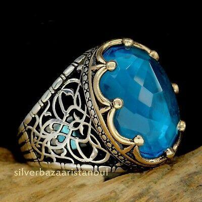 Turkish handmade 925 Sterling Silver Aquamarine Stone Mens man ring ALL SİZE us