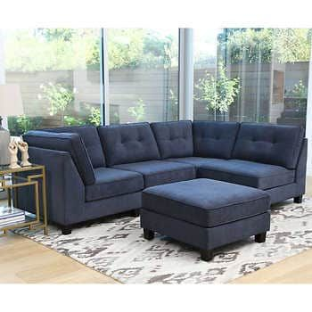 Frankie 5 Piece Fabric Sectional With Ottoman Modular Sectional Fabric Sectional Abbyson Living