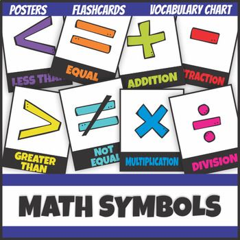 Elementary Math Symbols Posters Flash Cards Vocabulary Chart Elementary Math Math Flashcards
