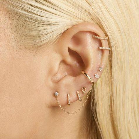 Crystal Earrings, Statement Earrings, Women's Earrings, Silver Earrings, Diamond Earrings, Cute Cartilage Earrings, Bijoux Piercing Septum, Cool Ear Piercings, Ear Piercings Chart