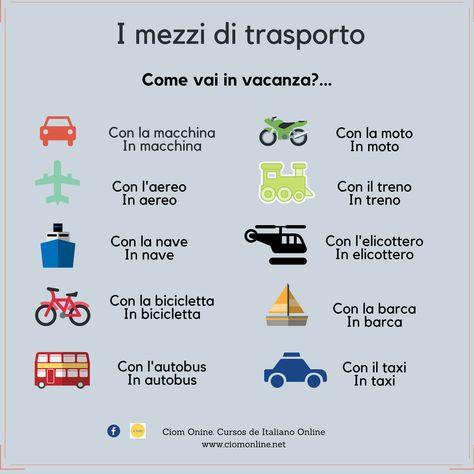 Impara L Italiano Con Noi I Mezzi Di Trasporto Learning Italian Italian Language Italian Vocabulary