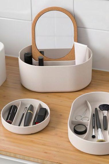 Saxborga Kasten Mit Spiegeldeckel Kunststoff Kork Ikea Deutschland Ikea Kuche Lagerung Aufbewahrungsbox Mit Deckel Kasten