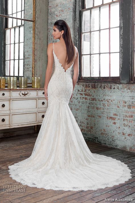 Justin Alexander Signature Spring 2016 Wedding Dresses   Wedding Inspirasi   Gorgeous, Fit To Flare Wedding Gown Showcasing A Beaded Lace Appliquéd Bodice With Embellished Spaghetti Shoulder Straps, Low V Cut Back, Chapel Train