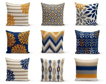 Throw Pillow Covers Navy Mustard Yellow Crimson White Primary Throw Pillow Cover Navy Throw Pillow Covers Throw Pillows
