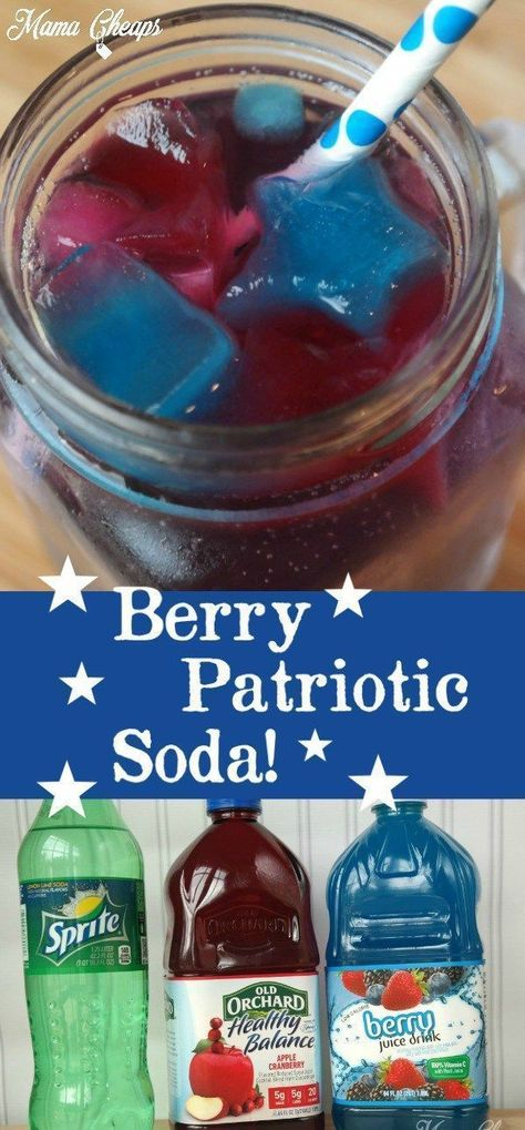 Check out this fun & easy of July Drink that you can add to your holiday menu!Use juice to make star-shaped ice cubes for a sweet spin on regular soda. Fourth Of July Drinks, 4th Of July Desserts, Fourth Of July Food, 4th Of July Celebration, 4th Of July Party, July 4th, 4th Of July Ideas, 4th Of July Games, Berry
