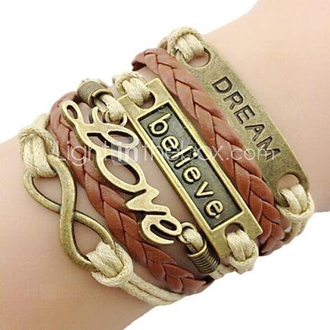 leather Charm Bracelets Classic Bronze LOVE Leather Wrap Bracelet(1 Pc) inspirational bracelets Jewelry 2016 - $1.59