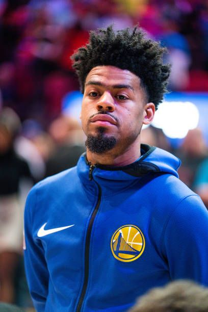 Quinn Cook Hairstyle : quinn, hairstyle, Quinn, Golden, State, Warriors, Stands, During, National..., Warriors,, Quinn,