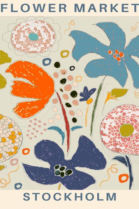 Poster Floral Print, Exhibition poster, Illustration, Flower Market poster, Instant Print, Download
