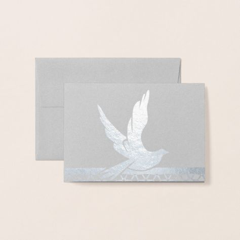 Real Foil Silver Dove Foil Card #foilnote #elegant #template #stationery #foil #FoilCard #realfoil #gold #silver #holidays #cards #birthday #anniversary #barmitzvah #newyear #christmas #easter #greetingcard #ad #affiliatelink