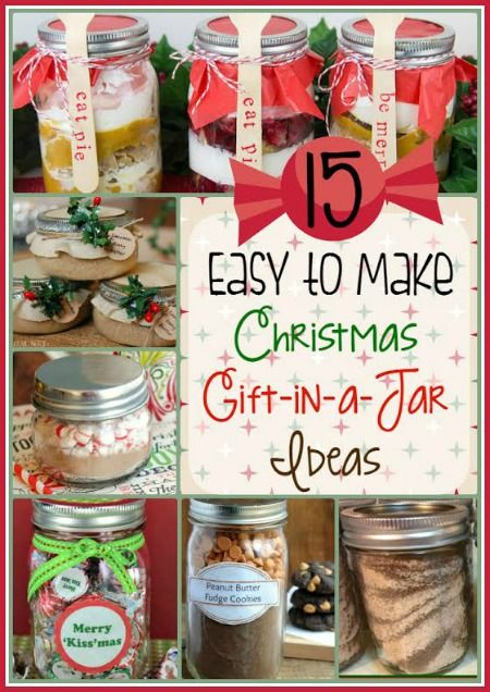 If you're looking for some great DIY gift ideas for teachers, neighbors, co-workers, etc, you'll want to check out these 15 great Easy to Make Gift-in-a-Jar ideas.  They are perfect for a Christmas gift (or for any occasion, really).