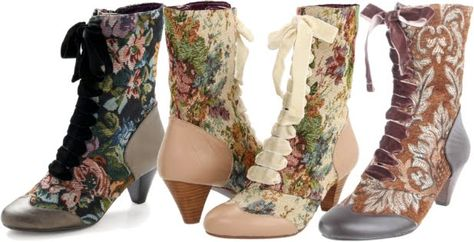 Victorian style tapestry boots