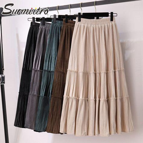 27.12US $  SURMIITRO Korean Style Velvet Midi Skirt Women 2020 Autumn Winter Black Green Laciness High Waist Long Pleated Skirt Female Skirts    - AliExpress