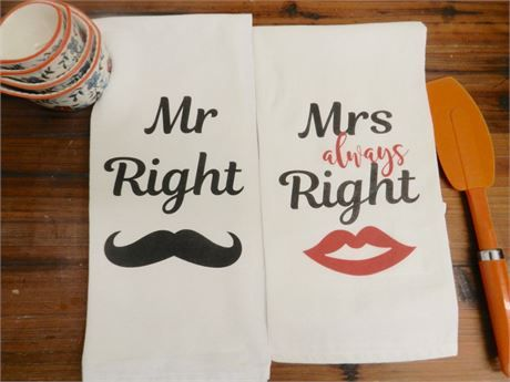 Set Of Two Newlywed Bridal Shower Kitchen Tea Towels That Have A