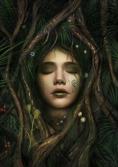 A dryad tree spirit in Greek mythology. / This is a digital painting done some time in 2014. • Also buy this artwork on wall prints, phone cases, and stationery.