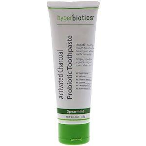 Hyperbiotics 활성탄 프로바이오틱 치약 스피아민트 4 Oz 113 G Toothpaste Probiotics Lactobacillus Paracasei