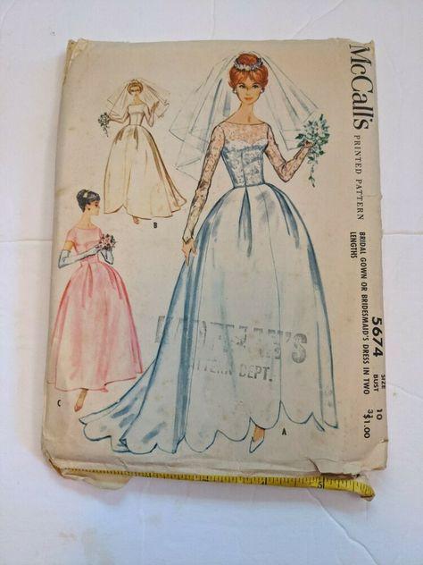 1021 1950s Vintage Sewing Pattern B38 WEDDING /& BRIDESMAID/'S DRESS