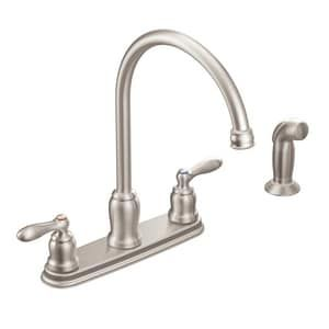 Moen Caldwell Two Handle Kitchen Faucet In Spot Resist Stainless