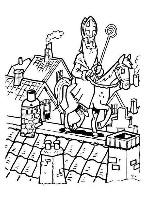 Kleurplaten Sint Paard.Sinterklaas Kleurplaat Sint Paard Staf Schoorsteen Dak