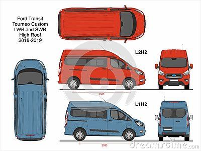 Ford Transit Tourneo Custom Passenger Van Swb L1h2 And Lwb L2h2 High Roof 2018 2019 Detailed Template For Design And Production Ford Transit Car Wrap Templates