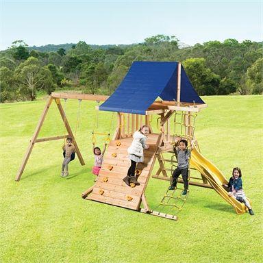 Swing Slide Climb Kosciuszko Play Set Bunnings Warehouse In 2021 Swing And Slide Playset Outdoor Kids
