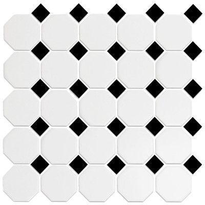 Roca Tile Octagonal Snow White Black 12x12 Mosaic Daltile Ceramic Mosaic Tile Mosaic Flooring