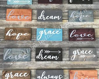 Small Wooden Painted Signs Love Faith Grace Dream Hope Always In 2021 Painted Wooden Signs Wooden Signs Painted Signs