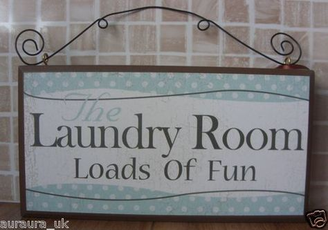 Shabby Rustic Wooden Chic Distressed Plaque Laundry Room Loads of Fun Wall Sign